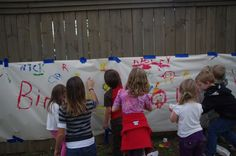 Finger painting at the birthday party - the kids LOVED it!