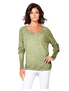 Pull en tricot fin couleur vert olive