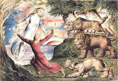 William Blake Dante Running from the Three Beasts. Illustration to The Divine Comedy by Dante Alighieri, Pen and ink and watercolour over pencil. National Gallery of Victoria, Melbourne, Australia. Dante Alighieri, William Blake Paintings, William Blake Art, C G Jung, English Poets, Illustrations, Art Google, Great Artists, Les Oeuvres