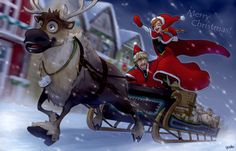 """Merry Christmas! by godohelp.deviantart.com on @DeviantArt - Kristoff, Anna, and Sven from """"Frozen"""". This is funny!"""