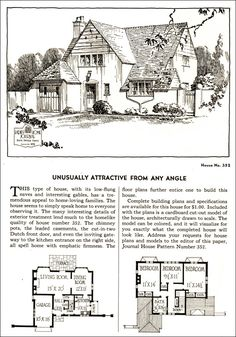 Design No. 352  1935 Ladies Home Journal House Pattern Catalog