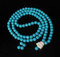 108 Turquoise Blue Ball & White Buddha Beads Buddhist Prayer Mala Necklace 37