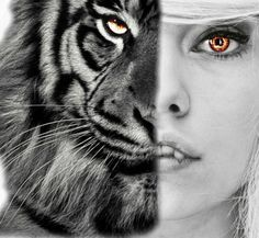 I made this edit myself, I put the tiger there, i gave the girl teeth and eye color, if you want a edit, just ask