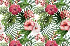 Set of Tropical Floral Patterns by Watercolor Gallery on Creative Market