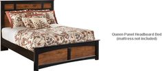Ashley Aimwell Queen Panel Headboard Bed - With the rustic beauty of the warm brown finish enhancing the replicated cherry grain along with the deep black finish that features golden rub through accenting, the two-toned look of the Aimwell bedroom collection captures a vintage casual atmosphere to enhance any bedroom's decor. Panel Headboard, Bed Mattress, Two By Two, Cherry, Bedroom Decor, Deep, Warm, Rustic