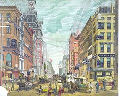 As this 1880s postcard reveals, New York streets in the late 19th century held messes of wires—telephone and telegraph wires like these as well as power lines. The streets are much more attractive—...