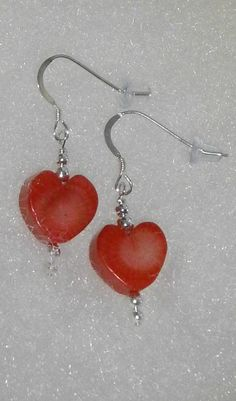 925 Sterling Silver Beautiful Red Coral Heart by dsmenagerie