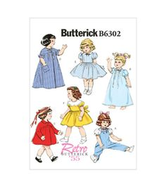 Butterick Pattern B6302-Osz-18 Doll Clothes-One Size Only