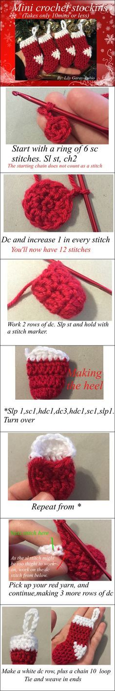 Christmas DIY: Mini Christmas Stock Mini Christmas Stockings Crochet Pattern With Video Crochet Crafts, Yarn Crafts, Crochet Projects, Knit Crochet, Diy Crafts, Crotchet, Crochet Ideas, Crochet Socks, Christmas Crochet Patterns