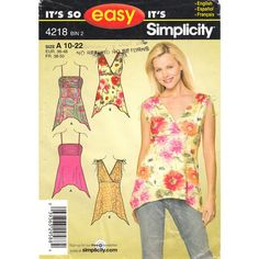Simplicity 4218 Womens Summer Top Pattern Handkerchief Hem Bust 32 to 44 Size 10 to 22 Plus Included UNCUT