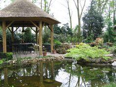 Bestratingen Japanse tuin Natuurlijke vijver met trap Pergola's Schanskorven Strakke moderne stijl met vijver Overige Trap, Gazebo, Zen, Outdoor Structures, Modern, Photograph Album, Kiosk, Trendy Tree, Cabana