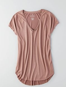 AEO Soft & Sexy V-Neck Scoop Jegging T-Shirt , Light Tan   American Eagle Outfitters