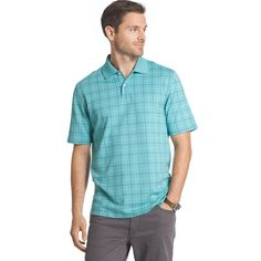 Men's Arrow Classic-Fit Windowpane Polo, Size: Medium, Blue Other