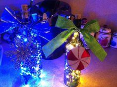 Christmas light wine bottle decorations