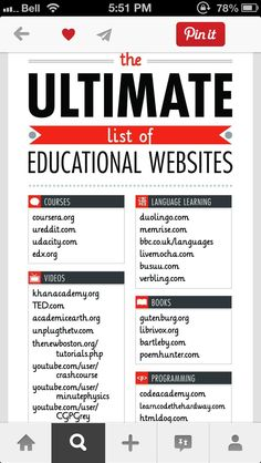 The Ultimate List Of Educational Websites – Technology Updated Ideas Life Hacks Websites, Hacking Websites, Learning Websites, Educational Websites, Useful Life Hacks, Learning Resources, Educational Technology, Study Websites, Teaching Technology
