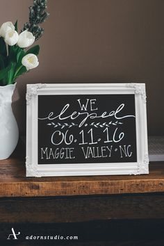 Elegant chalkboard sign announcement with  featured hand lettering. A perfect wedding gift for  the happy couple to cherish for years to come.    Adorn Studio  adornstudio.com    Back to Gallery