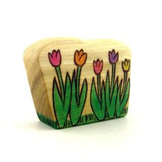 Tulips  Wooden Toy  Childrens Toy  Spring от ArmadilloDreams, $9.00