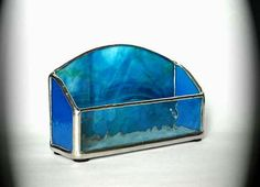 Blue Stained Glass Business Card Holder by AfricanSand on Etsy, $30.00
