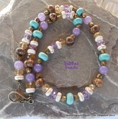 Turquoise gemstone bead necklace. www.facebook.com/bubbasbeads