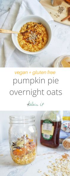 Vegan pumpkin pie overnight oats. This dairy free and gluten free recipe is a healthy breakfast full of fall flavor.