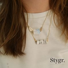 Opal Leaf & Marble Musthave Necklaces - Gold. Stygr. - Handmade Designs.   www.stygr.com
