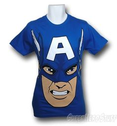 This blue t-shirt features a very large close-up image of Captain America's freedom focused face! I think this is what it looks like right before Captain America head-butts you in the name of liberty! This Captain America tee is a form fitting 30 Single t-shirt made with a higher thread count making it noticeably softer than the average t-shirt. Much like Captain America is noticeably harder on communist sympathizers.    http://www.marveloussuperherosquad.com/details.php?pid=470567623