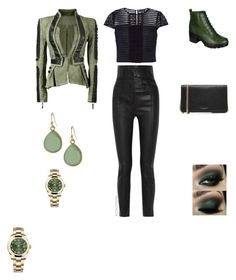"""""""Olive Green & Black"""" by irockcrowns ❤ liked on Polyvore featuring Ted Baker, Haider Ackermann, Breckelle's, Marc Jacobs, Banana Republic and Rolex"""