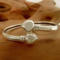 Sterling silver bangle heart bracelet, 'Love Connects' by NOVICA