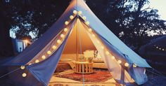 Check out this Hipcamp in California: Whiskey Ranch, Whiskey Ranch - Glamping in the Tee Pee style canvas Bell Tent I brought to Burning Man. It is equipped with a memory foam queen bed, couch, rugs, string lights. Camping Glamping, Camping Life, Camping Hacks, Camping Cabins, Bell Tent Glamping, Yurt Tent, Camping Kitchen, Camping Outdoors, Campsite
