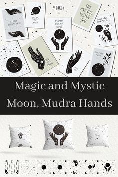 Magic and mystic moon. Hand Mudras, Mystic Moon, Yoga Art, Moon Design, New Art, Astrology, Create Yourself, Meditation, Fabrics