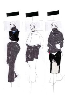 Fashion Illustration - black & white sketches by Andrew Voss I collage