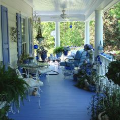 Cool blue porch for hot summer days