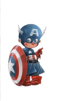 Little Captain America by Alberto Varanda - Illustration Illustration Batman, Work Cartoons, Captain America Art, Chibi Marvel, Marvel Kids, Cute Fantasy Creatures, Superhero Stories, Baby Superhero, Fanart