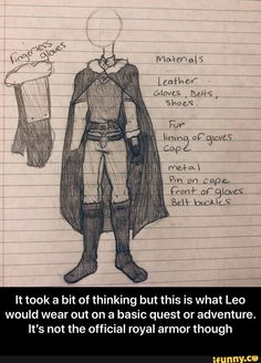 It took a bit of thinking but this is what Leo would wear out on a basic quest or adventure. It's not the official royal armor though - It took a bit of thinking but this is what Leo would wear out on a basic quest or adventure. It's not the official royal armor though  – popular memes on the site iFunny.co #adventuretime #tvshows #it #bit #thinking #leo #wear #basic #quest #adventure #its #not #official #royal #armor #though #meme Basic Wear, Give It To Me, Take That, Leather Gloves, Character Concept, Popular Memes, Adventure Time, Leo, Politics