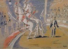 A3226 Gerard Hordijk, 1899-1958 Holland gouache Paardenact in circuspiste