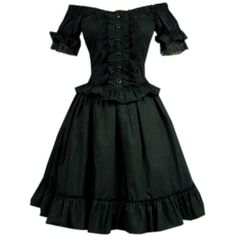 Partiss Womens Black Off-the-Shoulder Short Sleeves Lace Ruffles... ($70) ❤ liked on Polyvore featuring dresses, off the shoulder ruffle dress, short-sleeve dresses, off the shoulder flounce dress, short sleeve dress and gothic lolita dress