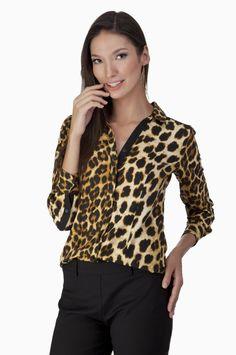 Camisa Animal Print Elegance Marrom e Preto | Olook