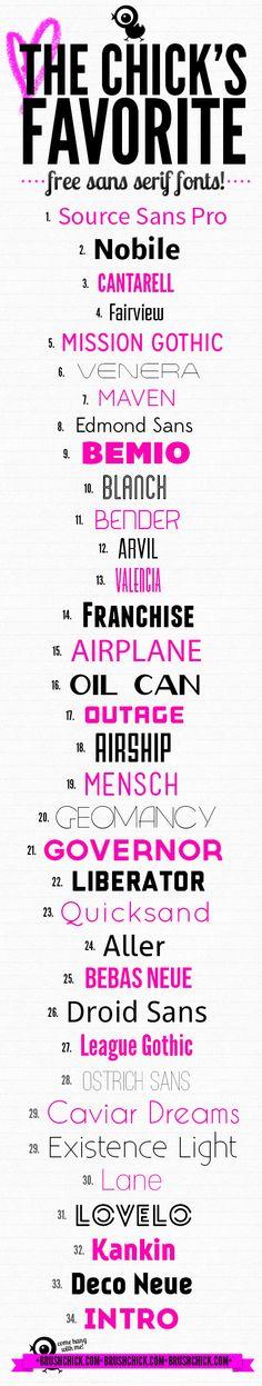 Brushchicks-Favorite Sans-serif Fonts  ~~ {35 Free fonts w/ easy download links} Fancy Fonts, Cool Fonts, New Fonts, Calligraphy Fonts, Typography Fonts, Graphic Design Typography, Computer Font, Cricut Fonts, Lettering Tutorial