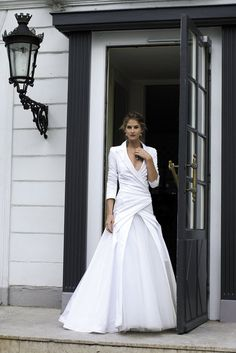 """Cymbeline """"Fun"""" white bridal gown, long sleeves, suit jacket top, non-traditional, ball gown skirt"""
