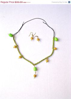 10 Off Chartruese & Gold Bead Drops  Link by BEADEDNECKLACESHOPPE, $31.50#green necklace, #greengold drop necklace, #momgift