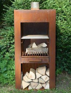 Buitenhaard 50x50x100 cm (80kg), incl. BBQ, #CorTenstaal, #potmaat