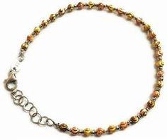 14K Italian Tri-Color Yellow, Rose and White Gold Diamond-Cut Beads Balls Bracelet. #Jewelry #Bracelets