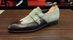 Men Double Monk Strap Shoes, Handmade Suede Leather Formal Tuxedo wedding Shoes - Dress/Formal