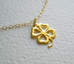Lucky Clover Gold Necklace -simple  everyday jewelry - jewelry under 25 - gift for her - minimal jewelry. $23.90, via Etsy.