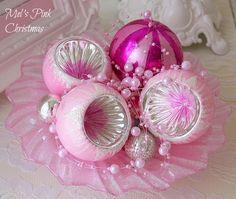 My Pink vintage mercury glass Christmas ornaments