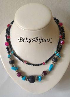 Gemstone Necklace, Multi Strand Necklace, Black Lava, Turquoise, Agate, Black Onyx Necklaces by BekasBijoux on Etsy
