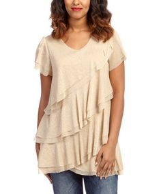 Love this Gold Ruffle Flutter-Sleeve Top by Lady Noiz on #zulily! #zulilyfinds