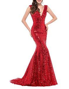 OYISHA Womens Vneck Sequin Mermaid Evening Dresses Sexy Wedding Formal Gowns  18SQ Burgundy 16    9f58715b542de