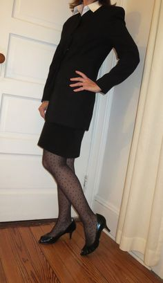 Give your monochromatic look a little oomph with textured stockings. Business Style, Business Fashion, Style Challenge, Get Dressed, New Day, New Outfits, Stockings, High Neck Dress, Sweaters