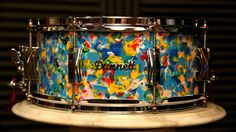 """Dunnett Snare 14x6.5 Magnesium Shell With """"Clown Puke"""" Finish - Todd Sucherman Collection."""